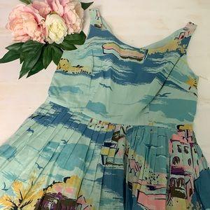 Boden Blue Coastal Print Lightweight Dress Size 8